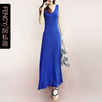 Free shipping 2013 bohemia spaghetti strap full dress fashion modal vest one-piece dress full dress