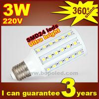 Free shipping BOPO Ultra bright LED bulb 4W E27 220V Cold White light LED corn lamp with SMD 24 led 360 degree Spot light