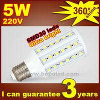 Free shipping BOPO Ultra bright LED bulb 6W E27 220V Cold White light LED corn lamp with SMD 36 led 360 degree Spot light