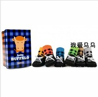New Arrival Fashion Multicolored Plaid Design Children Socks Slipper 6pairs/Lot Baby Outdoor Shoe Sock