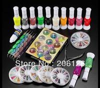 Nail Art Decoration Kit Polish Glue Rhinestones Clipper Dotting Tool