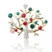 Christmas Gift Artificial Diamond Lights Christmas Tree Brooch Pin 10283