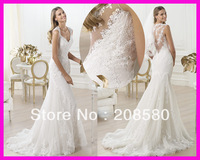 2014 Vintage Cap Sleeve V Neck Lace Mermaid Wedding Dresses Bridal Dress Gowns W1892