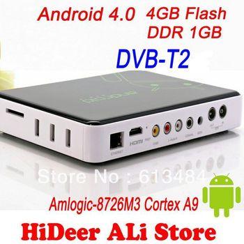 DVB-T2 Android AML8726-M3 Andorid 4.0 HDMI WIFI TV Receicer 3D 3G AV Smart TV Box DVB T2 android google tv box Free shipping