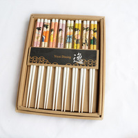 Derlook high quality bamboo chopsticks 8 double gift box set unique chopsticks gift lady map 88sqm chopsticks white