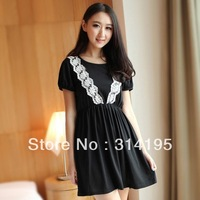 Real pictures Free\Drop Shipping 2013 Summer Cotton Dress slim waist large size (S,M,L) Lace one-piece dress short-sleeve 8448