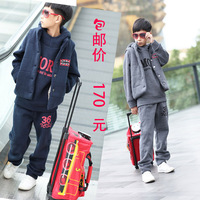 2012 autumn and winter teenage sports set children's clothing fleece set piece with a hood outerwear sweatshirt