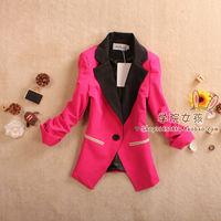 2013 spring women outerwear vintage color block decoration shoulder pads three quarter sleeve slim fashion candy color suit