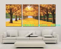 Hand painted oil painting sofa wall decorative painting mural paintings frameless gold tree