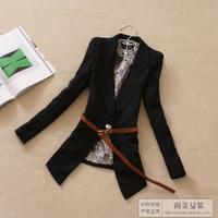 2012 women's autumn outerwear preppy style fashion medium-long small slim suit belt