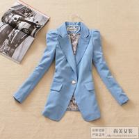 2012 women's autumn outerwear one button medium-long fashion slim blazer suit 4
