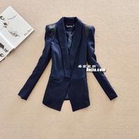 2013 women's spring outerwear small shoulder pads slim medium-long one button blazer