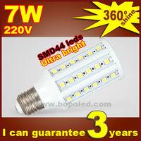 Free shipping BOPO Ultra bright LED bulb 8W E27 220V Cold White light LED corn lamp with SMD 44 leds 360 degree Spot light