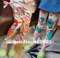 JP004 new arrival girls cotton leggings blue & orange flowers fashion girls' leggings pants kids cheap leggings free shipping
