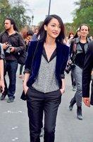 2013 spring women outerwear star pleuche slim medium-long suit