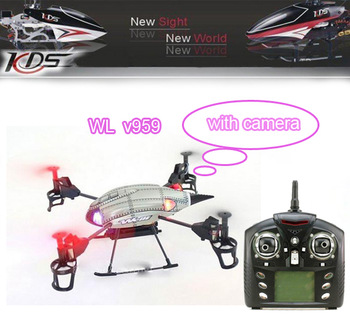 WL toys V959 2.4G 4-Axis 4CH RC Quad Copter Helicopter RTF with Camera Lights and Gyro UFO