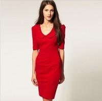 Dresses new fashion 2014 autumn womens dresses women's short sleeve high waist knee length dress  Fall one piece european dress
