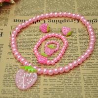 Free Shipping Strawberry Design Children Kid's Girl Handmade Jewelry sets (Necklace+Bracelet+Ring+earring) 10set/lot  XL023