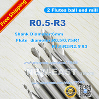 Free shipping R0.5 0.75 R1 R1.5 R2 R2.5 R3 2 Flutes Ball Cutter Nosed End Mill Cutter