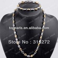 Free Shipping! 304 Stainless Steel Coffee Bean Necklace & Bracelet SSJ76
