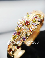 Fashion bangle ,Gold-plated color zircon inlay ,India, western style ,Super flash