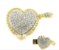 Golden Jewelry Crystal heart USB Flash Drive 8GB 16GB 32GB 64GB 100% full capacity