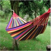 Singleplayer travel thickening canvas hemp rope multicolour outdoor hammock