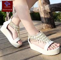 Free Shipping Wholesale 2013 leuconostoc summer platform wedges platform flat bohemia female sandals