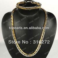 Free Shipping! Punk 304 Stainless Steel Jewelry Set, Bracelet & Necklace SSJ25