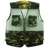 free shipping 2014 summer plus size fishing jacket Camouflage mens vest outdoor casual multi-pocket V-Neck waistcoat men XL-5XL