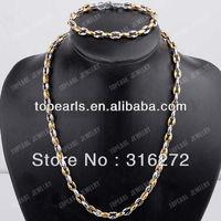 Free Shipping! 304 Stainless Steel Figure-8 Chunky Necklace & Bracelet Jewelry SSJ93