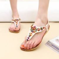Wholesale New 2013 summer sweet bohemia beaded casual flat heel sandals women's shoes flip-flop flat princess shoes