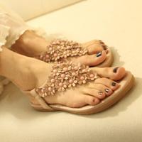 Wholesale Free Shipping Hot Wholesale Bohemia women's pinch flat shoes leuconostoc flip-flop sandals flower flat heel