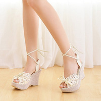 Free Shipping Summer new arrival female sandals bohemia lacing high-heeled shoes flat lace platform platform wedges