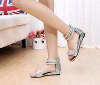 Free Shipping Wholesale Bohemia 2013 beaded rhinestone flat sandals female flat heel open toe flat women's shoes
