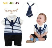 freeshiping Children's clothing male child style romper short-sleeve tie romper wholesale