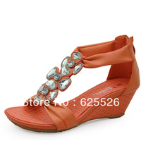 2013 spring rhinestone flower sandals women's shoes gladiator wedges summer 2012 posey meters