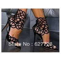 Black Cutout Sexy High Heel Sandals,Summer Fashion Design Flower Sandals,Suede Leather Women Sandals Free Shipping