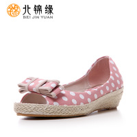 Cotton-made 2013 beijing shoes women's wedges shoes sandals open toe bow dot cow muscle outsole
