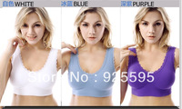 Free shipping 2103  hot selling  double lace with sponge pad No-wire Bra sports underwear for women