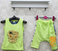 Free shipping -100%cotton  Boy's personality three-dimensional skull vest and pants Boy's set
