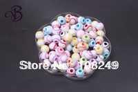 600pcs mix colors round sports baseball shape acrylic jewelry beads.Fashion round 12mm acrylic baseball beads.