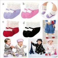New Style 12pairs/Lot Cute Polka Dot Small Heart Decoration Ballet Baby Girl/Boy Shoe Socks Anti Slip Children Footwear