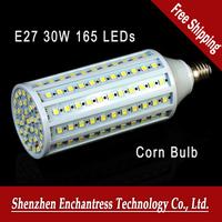 Free Shipping E27 30W 165 LEDs SMD5050 White/Warm White LED Corn Bulb Light Lamp AC85-265V