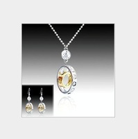 Min.order $10(mix order) wholesale jewelry set necklace earring set rhinestone round women's jewelry