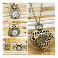 10pcs/lot Cute 4 Mixed Style Owl Bird+Heart Shape Pocket Watches Harry Poter Necklace Quartz Watch