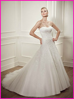 Free shipping strapless tulle A-line gown 2014 collection bridal dress EM1225