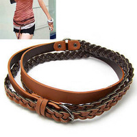 New Arrival Vintage Fashion Multiturn Brown Knitted Leather Thin Belts Decoration Belts Pin Buckle For Women Hot Sale