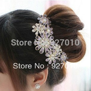 Min order is $10(mix order) Crystal HAIR Accessory Fat Plug Luxury Rhinestone Insert Comb Hair Maker Comb Women Hairwear TS081