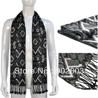 Min.order $15 free shipping ,New designer fashion 2013 winter black and grey tone style square knitted men's scarf wrap ,NL-1839